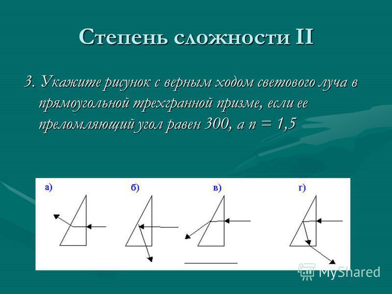 Степень сложности II 3. Укажите рисунок с верным ходом светового луча в прямоугольной трехгранной призме, если ее преломляющий угол равен 300, а n = 1,5