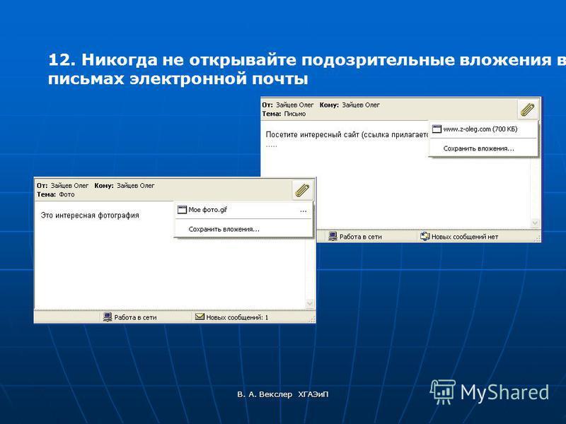 В. А. Векслер ХГАЭиП 12. Никогда не открывайте подозрительные вложения в письмах электронной почты
