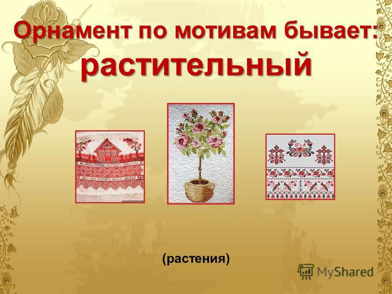 Орнамент по мотивам бывает: растительный (растения)