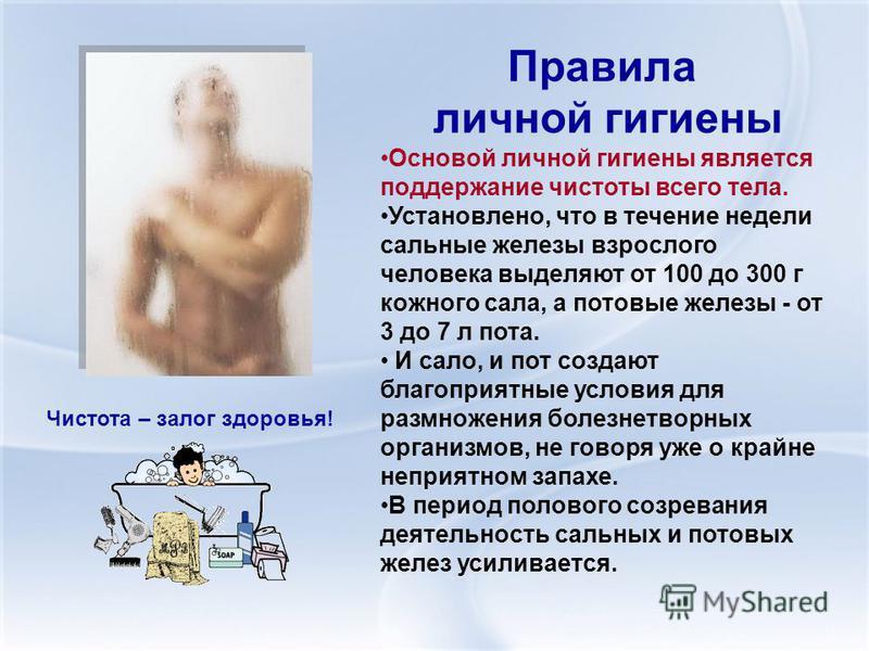 Правила личной гигиены Основой личной гигиены является поддержание чистоты всего тела. Установлено, что в течение недели сальные железы взрослого человека выделяют от 100 до 300 г кожного сала, а потовые железы - от 3 до 7 л пота. И сало, и пот созда