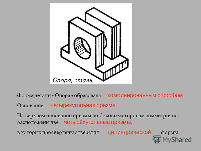 Форма детали «Опора» образована Основание- На верхнем основании призмы по боковым сторонам симметрично расположены две, в которых просверлены отверстия формы. комбинированным способом четырехугольная призма четырёхугольные призмы цилиндрической