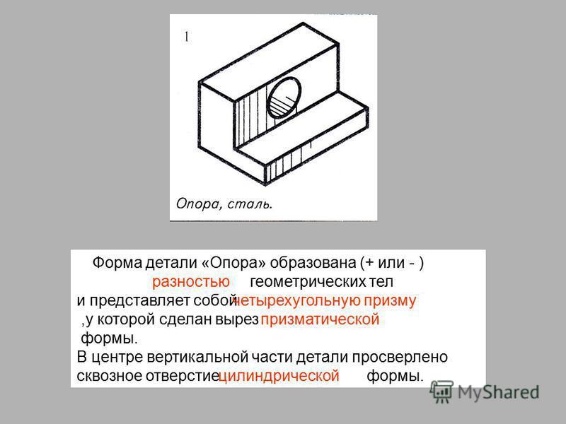 Форма детали «Опора» образована (+ или - ) геометрических тел и представляет собой,у которой сделан вырез формы. В центре вертикальной части детали просверлено сквозное отверстие формы. разностью четырехугольную призму призматической цилиндрической