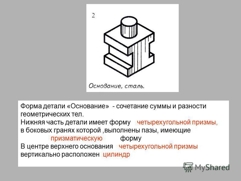 Форма детали «Основание» - сочетание суммы и разности геометрических тел. Нижняя часть детали имеет форму в боковых гранях которой,выполнены пазы, имеющие форму В центре верхнего основания вертикально расположен четырехугольной призмы, призматическую