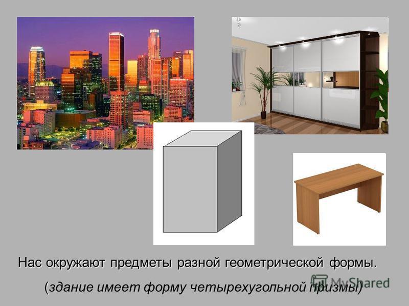 Нас окружают предметы разной геометрической формы. ( (здание имеет форму четырехугольной призмы)