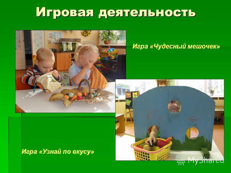 Игровая деятельность Игровая деятельность Игра «Чудесный мешочек» Игра «Узнай по вкусу»