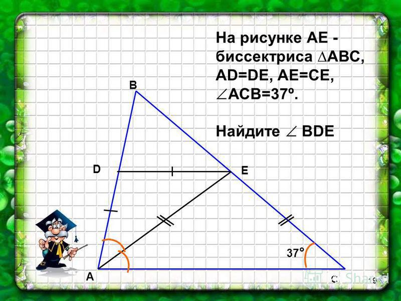 18 C A D B E 3 2 1 На рисунке АD=DC, DЕ||АС, 1=30º. Найдите 2 и 3