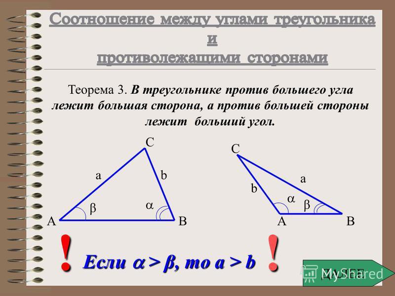 Дано: Найти: Решение: = 45° b - ? A B C a b c Ответ: 3 6 / 2 a/sin =b/sin β b= a sin β/ sin b = 3 sin 60 ° / sin 45 ° β b = 3 ( 3 / 2) / (1 / 2 ) b = 3 6 / 2 Решение задач - пример 2. β = 60° a = 3 м Содержание