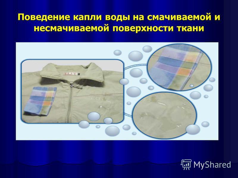 Поведение капли воды на смачиваемой и несмачиваемой поверхности ткани