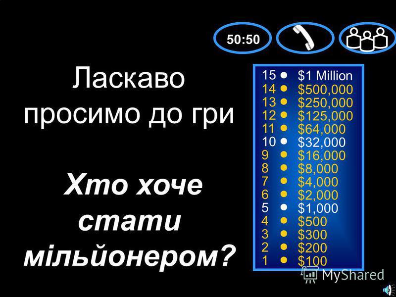 15 14 13 12 11 10 9 8 7 6 5 4 3 2 1 $1 Million $500,000 $250,000 $125,000 $64,000 $32,000 $16,000 $8,000 $4,000 $2,000 $1,000 $500 $300 $200 $100 Ласкаво просимо до гри Хто хоче стати мільйонером? 50:50