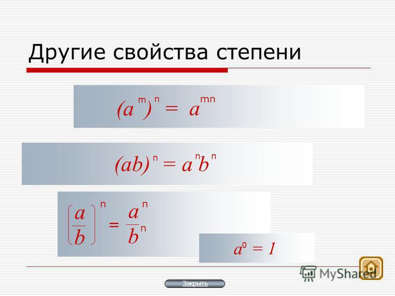 Другие свойства степени (а ) = mn m n а (аb) = a b n n n n а b = n n а b а = 1 0 Закрыть
