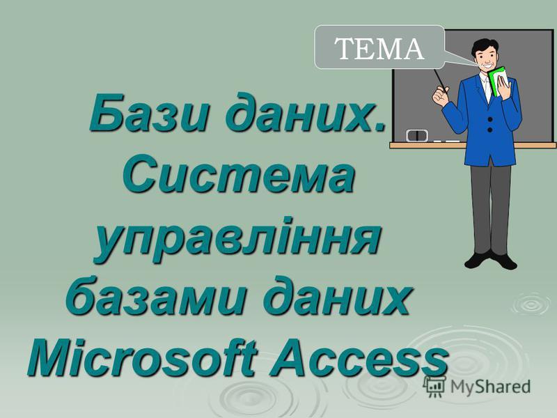 Бази даних. Система управління базами даних Microsoft Access ТЕМА