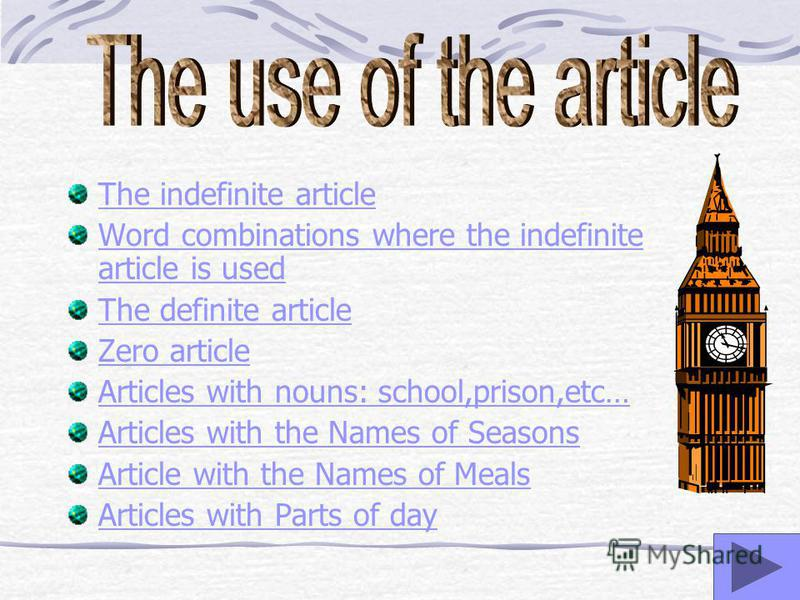 The indefinite article Word combinations where the indefinite article is used The definite article Zero article Articles with nouns: school,prison,etc… Articles with the Names of Seasons Article with the Names of Meals Articles with Parts of day