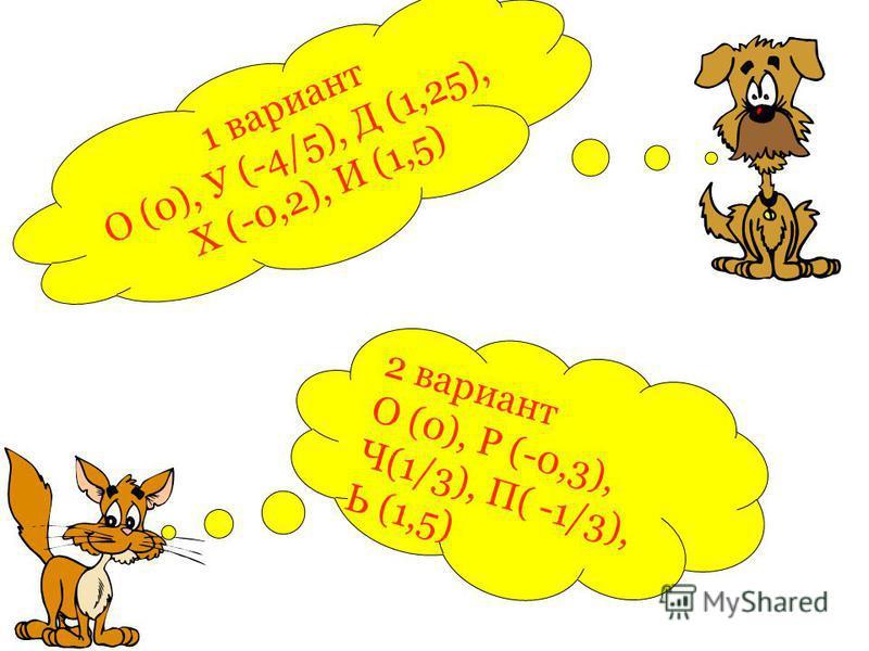 2 вариант О (0), Р (-0,3), Ч(1/3), П( -1/3), Ь (1,5) 1 вариант О (0), У (-4/5), Д (1,25), Х (-0,2), И (1,5)