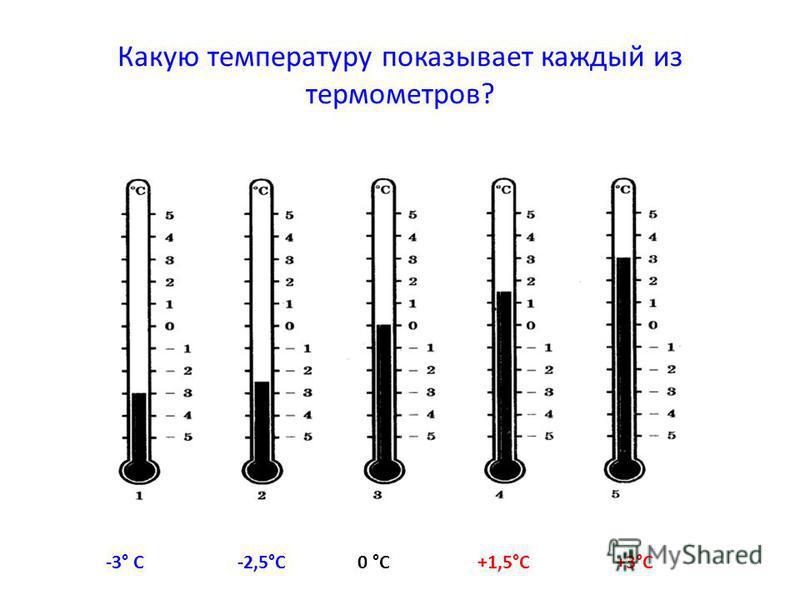 Какую температуру показывает каждый из термометров? -3° С-2,5°С0 °С+1,5°С+3°С