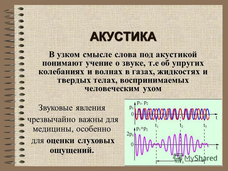 АКУСТИКА В узком смысле слова под акустикой понимают учение о звуке, т.е об упругих колебаниях и волнах в газах, жидкостях и твердых телах, воспринимаемых человеческим ухом Звуковые явления чрезвычайно важны для медицины, особенно для оценки слуховых