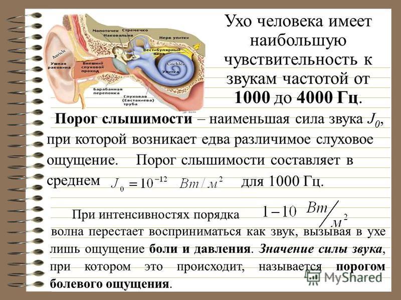 Ухо человека имеет наибольшую чувствительность к звукам частотой от 1000 до 4000 Гц. Порог слышимости Порог слышимости – наименьшая сила звука J 0, при которой возникает едва различимое слуховое ощущение. Порог слышимости составляет в среднем для 100