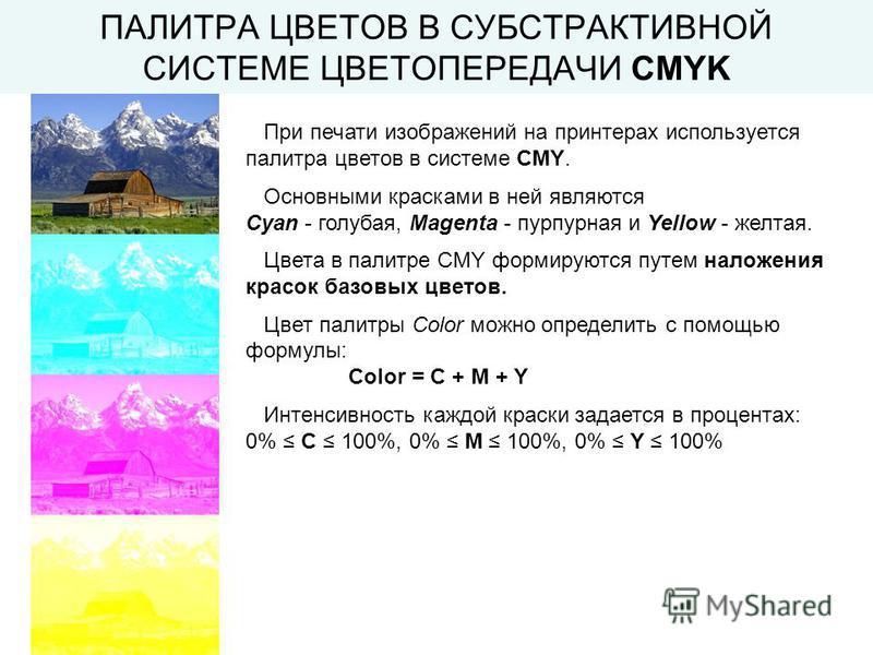 ПАЛИТРА ЦВЕТОВ В СУБСТРАКТИВНОЙ СИСТЕМЕ ЦВЕТОПЕРЕДАЧИ CMYK При печати изображений на принтерах используется палитра цветов в системе CMY. Основными красками в ней являются Cyan - голубая, Magenta - пурпурная и Yellow - желтая. Цвета в палитре CMY фор