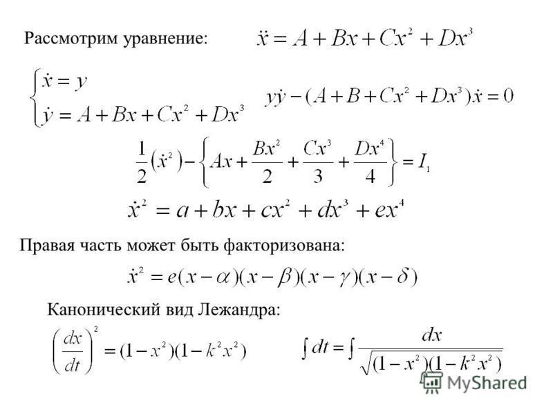 Рассмотрим уравнение: Правая часть может быть факторизована: Канонический вид Лежандра: