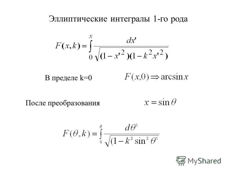 Эллиптические интегралы 1-го рода В пределе k=0 После преобразования