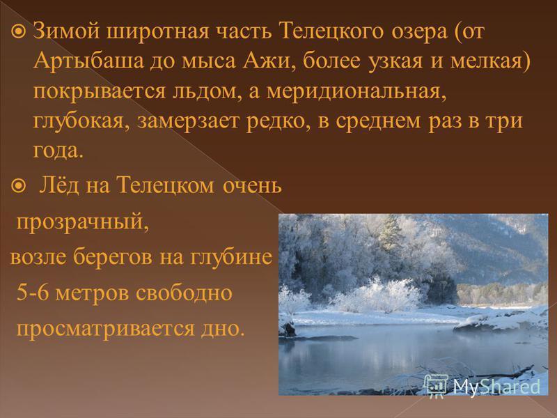 Зимой широтная часть Телецкого озера (от Артыбаша до мыса Ажи, более узкая и мелкая) покрывается льдом, а меридиональная, глубокая, замерзает редко, в среднем раз в три года. Лёд на Телецком очень прозрачный, возле берегов на глубине 5-6 метров свобо
