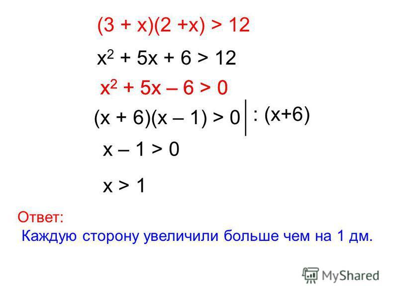 (3 + х)(2 +х) > 12 х 2 + 5 х + 6 > 12 х 2 + 5 х – 6 > 0 (х + 6)(х – 1) > 0 : (х+6) х – 1 > 0 х > 1 Ответ: Каждую сторону увеличили больше чем на 1 дм. х 2 + 5 х – 6 > 0