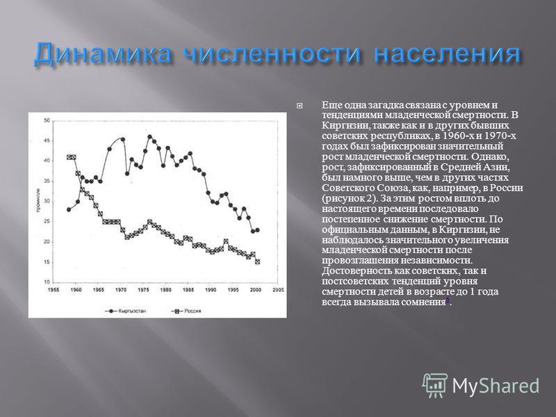 Еще одна загадка связана с уровнем и тенденциями младенческой смертности. В Киргизии, также как и в других бывших советских республиках, в 1960- х и 1970- х годах был зафиксирован значительный рост младенческой смертности. Однако, рост, зафиксированн