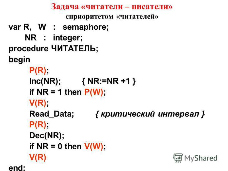 Задача «читатели – писатели» с приоритетом «читателей» var R, W : semaphore; NR : integer; procedure ЧИТАТЕЛЬ; begin P(R); Inc(NR); { NR:=NR +1 } if NR = 1 then P(W); V(R); Read_Data; { критический интервал } P(R); Dec(NR); if NR = 0 then V(W); V(R)