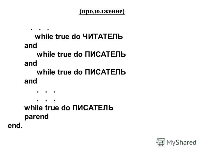 (продолжение)... while true do ЧИТАТЕЛЬ and while true do ПИСАТЕЛЬ and while true do ПИСАТЕЛЬ and... while true do ПИСАТЕЛЬ parend end.