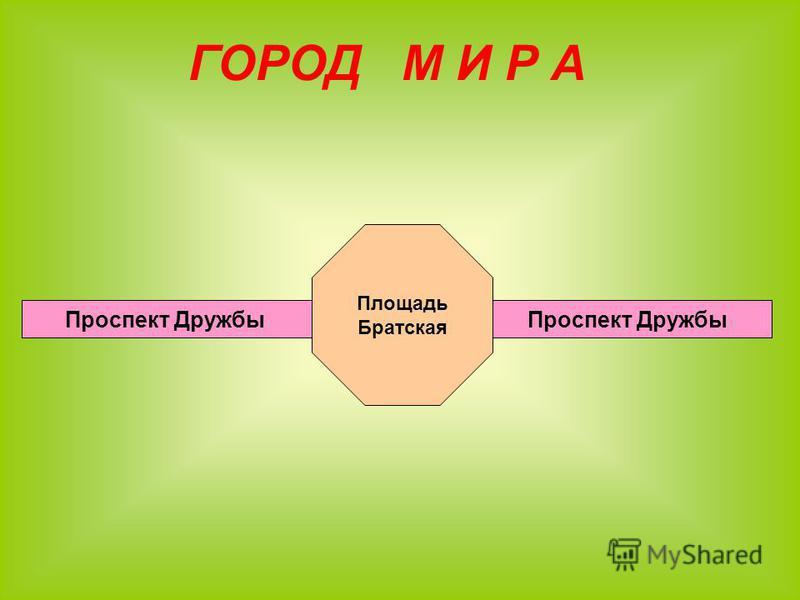ГОРОД М И Р А Проспект Дружбы Площадь Братская