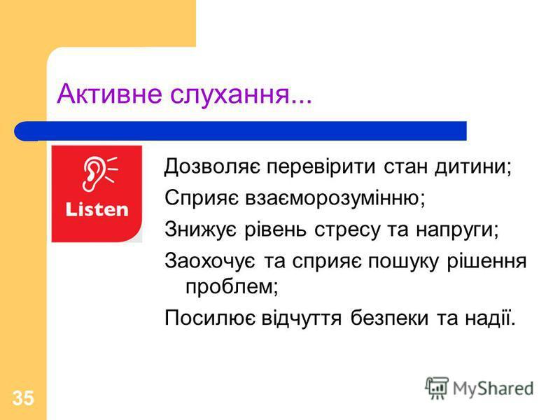 35 Активне слухання... Дозволяє перевірити стан дитини; Сприяє взаєморозумінню; Знижує рівень стресу та напруги; Заохочує та сприяє пошуку рішення проблем; Посилює відчуття безпеки та надії.