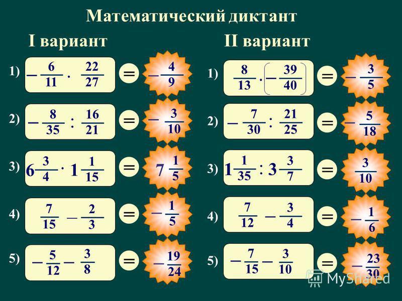 Математический диктант 1) 2) 3) 4) 5) = = = = = 1 5 7 3 4 1 1515 · 6 1 7 1515 2 3 – 5 12 3 8 –– 19 24 – 1) 2) 3) 4) 5) = = = = = 3 10 1 35 3 7 : 1 3 1 7 12 3 4 – 7 15 3 10 – – 23 30 – I вариантII вариант 6 11 22 2727 · – 4 9 – 8 13 39 40 · – 3 5 – 8