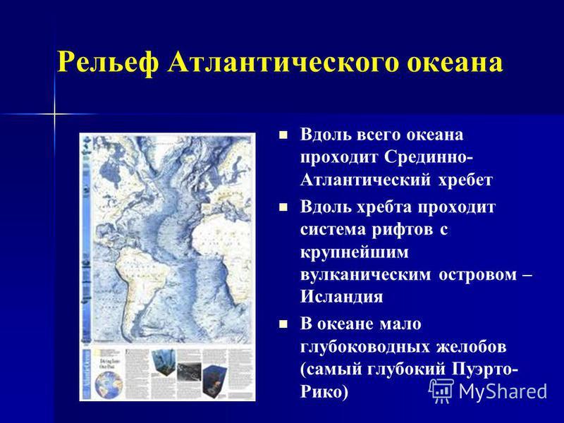 Рельеф Атлантического океана Вдоль всего океана проходит Срединно- Атлантический хребет Вдоль хребта проходит система рифтов с крупнейшим вулканическим островом – Исландия В океане мало глубоководных желобов (самый глубокий Пуэрто- Рико)