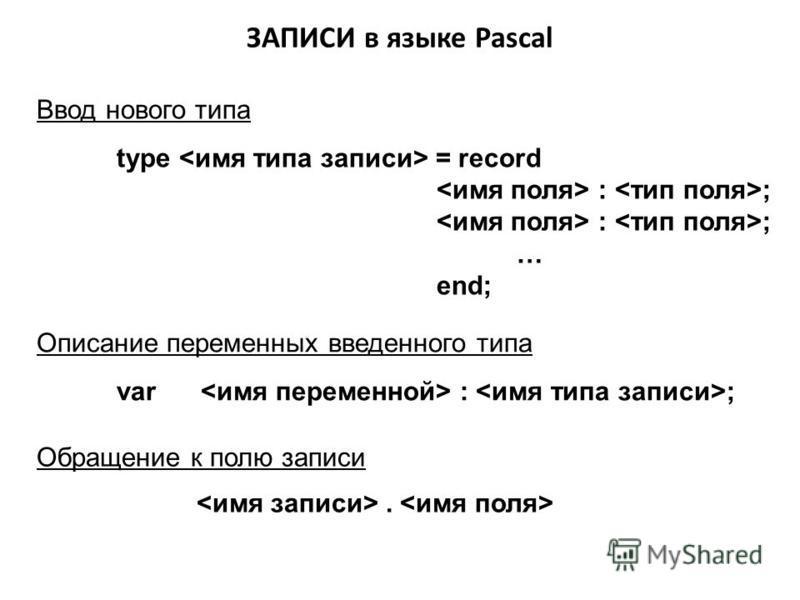 ЗАПИСИ в языке Pascal Ввод нового типа type = record : ; … end; Описание переменных введенного типа var : ; Обращение к полю записи.