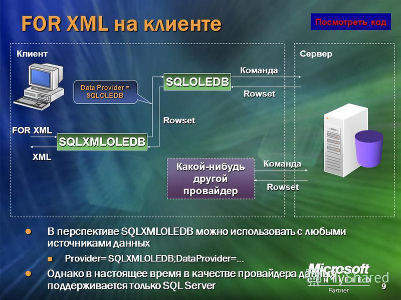 9 FOR XML на клиенте Клиент Сервер XML SQLXMLOLEDB FOR XML SQLOLEDB Data Provider = SQLOLEDB Команда Rowset Rowset Какой-нибудь другой провайдер Команда Rowset В перспективе SQLXMLOLEDB можно использовать с любыми источниками данных В перспективе SQL
