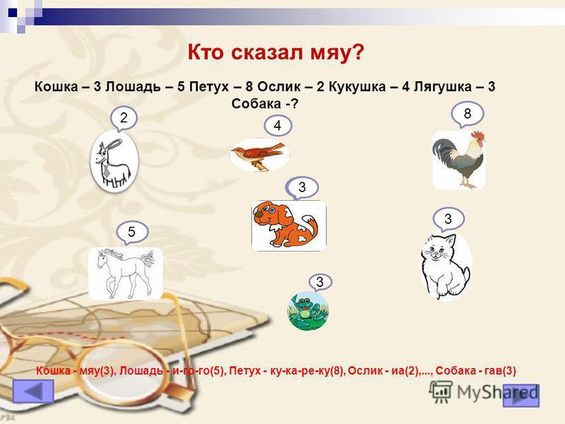 Кто сказал мяу? Кошка - мяу(3), Лошадь - и-го-го(5), Петух - ку-ка-ре-ку(8), Ослик - иа(2),..., Собака - гав(3) 3 5 8 2 4 3 ? Кошка – 3 Лошадь – 5 Петух – 8 Ослик – 2 Кукушка – 4 Лягушка – 3 Собака -? 3