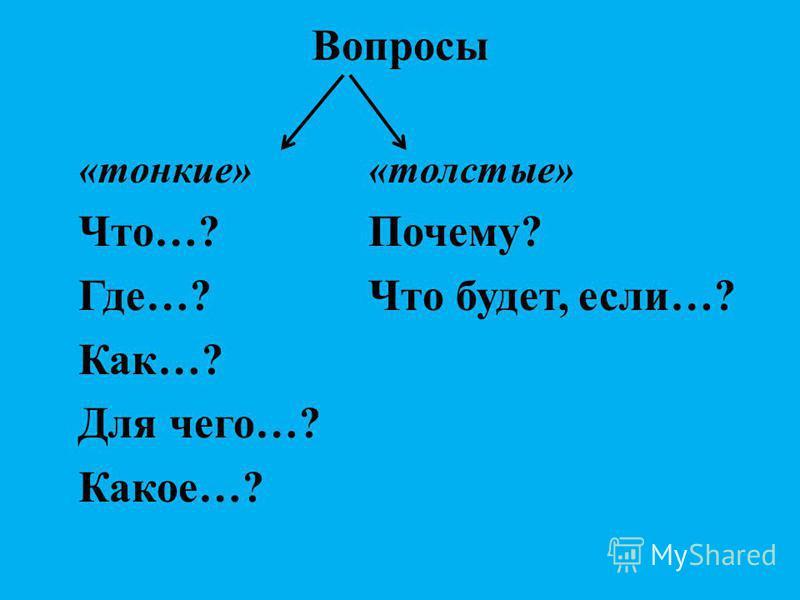 Вопросы «тонкие»«толстые» Что…?Почему? Где…?Что будет, если…? Как…? Для чего…? Какое…?