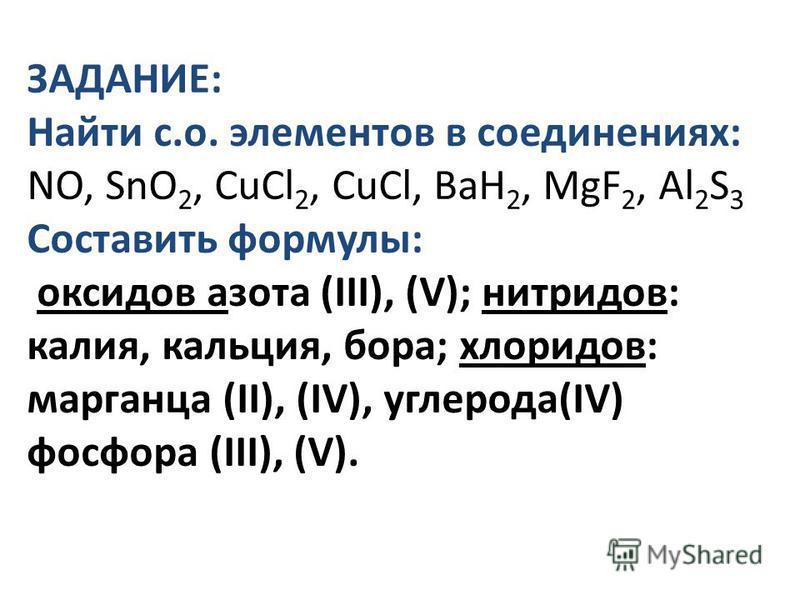 ЗАДАНИЕ: Найти с.о. элементов в соединениях: NO, SnO 2, CuCl 2, CuCl, BaH 2, MgF 2, Al 2 S 3 Составить формулы: оксидов азота (III), (V); нитридов: калия, кальция, бора; хлоридов: марганца (II), (IV), углерода(IV) фосфора (III), (V).