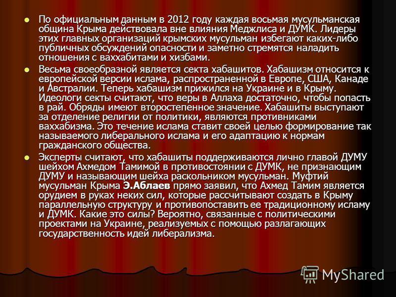 По официальным данным в 2012 году каждая восьмая мусульманская община Крыма действовала вне влияния Меджлиса и ДУМК. Лидеры этих главных организаций крымских мусульман избегают каких-либо публичных обсуждений опасности и заметно стремятся наладить от
