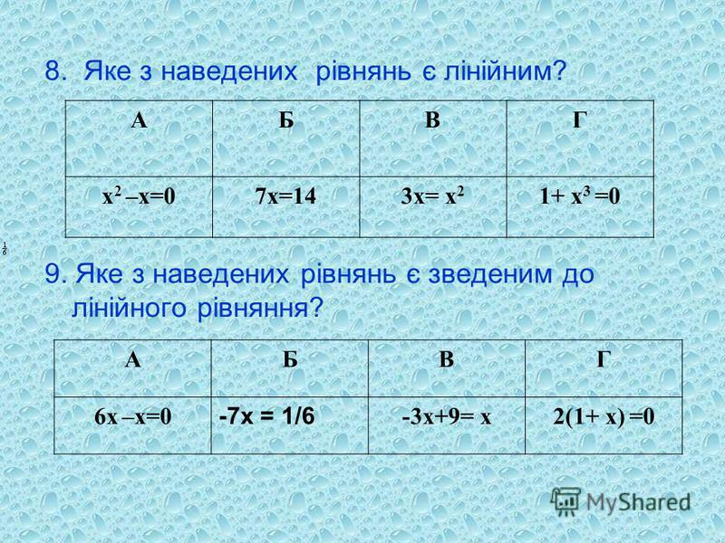 8. Яке з наведених рівнянь є лінійним? 9. Яке з наведених рівнянь є зведеним до лінійного рівняння? АБВГ х 2 –х=07х=143х= х 2 1+ х 3 =0 АБВГ 6х –х=0 -7х = 1/6 -3х+9= х2(1+ х) =0
