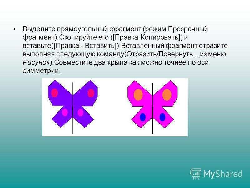 Выделите прямоугольный фрагмент (режим Прозрачный фрагмент).Скопируйте его ([Правка-Копировать]) и вставьте([Правка - Вставить]).Вставленный фрагмент отразите выполняя следующую команду(Отразить/Повернуть…из меню Рисунок).Совместите два крыла как мож
