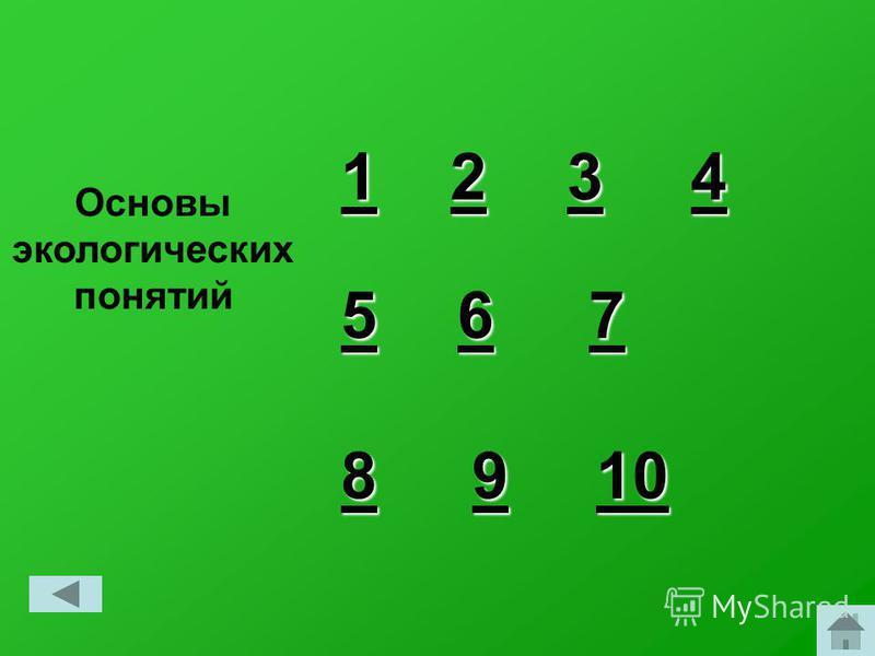 Основы экологических понятий 1 11 1 2 22 2 3 33 3 4 44 4 6 66 6 7 7 7 7 5 55 5 10 10 9 99 9 8 88 8