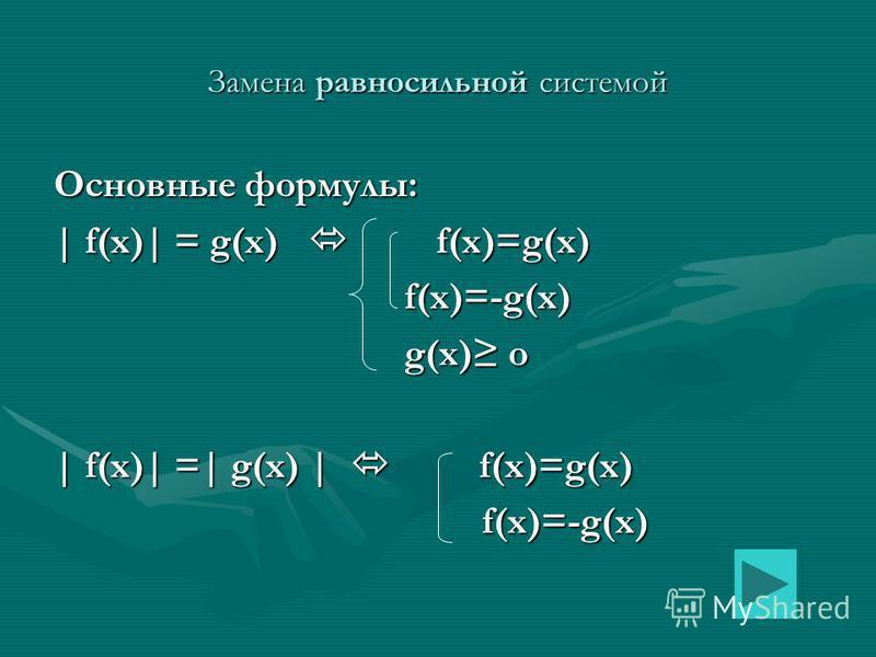 Замена равносильной системой Основные формулы: | f(x)| = g(x) f(x)=g(x) f(x)=-g(x) f(x)=-g(x) g(x) o g(x) o | f(x)| =| g(x) | f(x)=g(x) f(x)=-g(x) f(x)=-g(x)