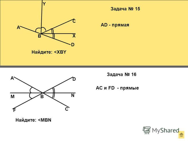 Y C X Задача 15 AD - прямая Найдите: <XBY D A B B D F A C N M Задача 16 AC и FD - прямые Найдите: <MBN