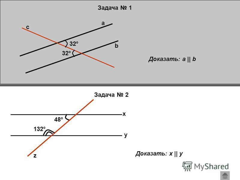 Задача 1 Задача 2 a b c 32° Доказать: a || b x y z 48° 132° Доказать: x || y