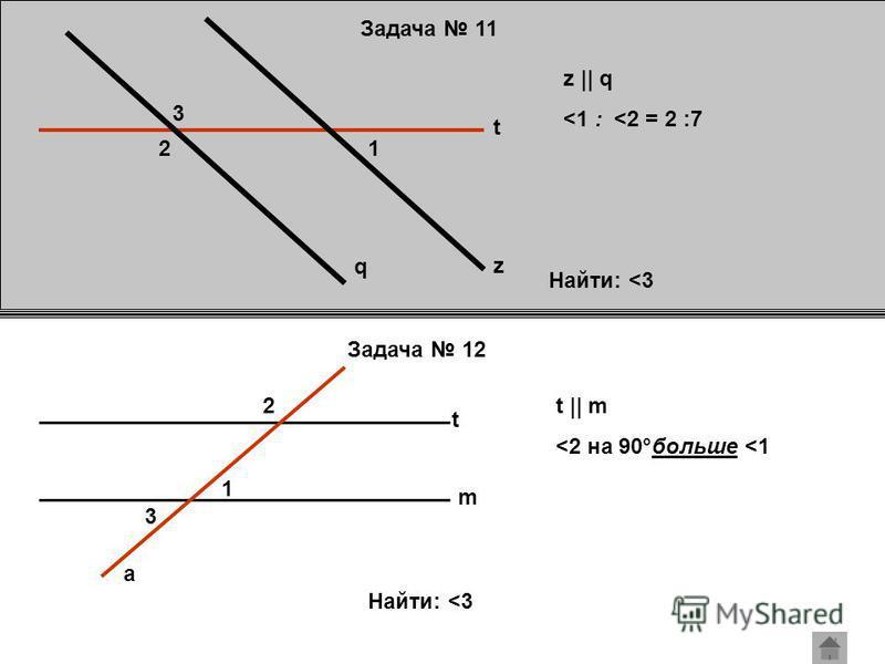 Задача 11 Задача 12 q z t 21 3 z || q <1 : <2 = 2 :7 Найти: <3 t m a 3 1 2t || m <2 на 90°больше <1 Найти: <3