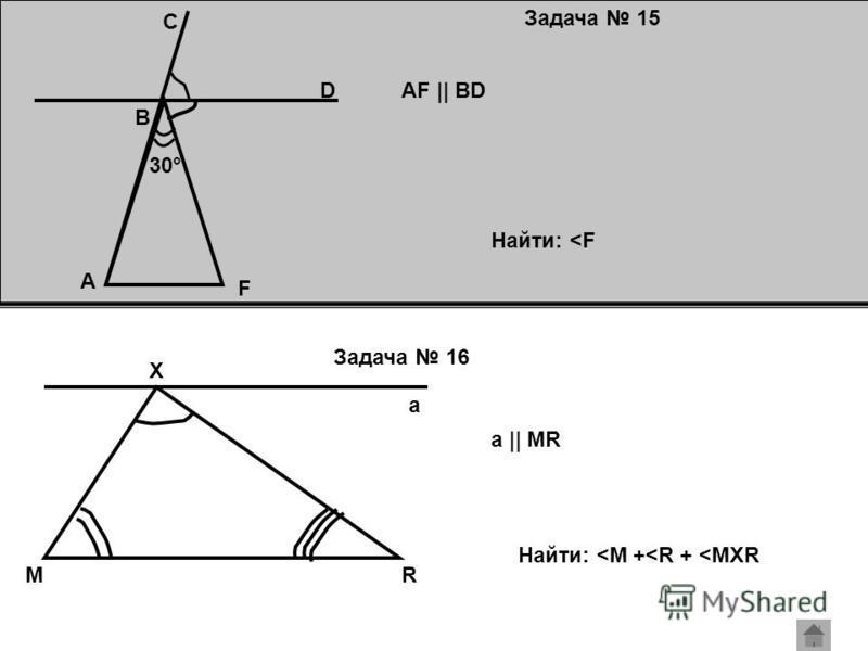 Задача 15 Задача 16 30° A D C B F AF || BD Найти: <F RM X a a || MR Найти: <M +<R + <MXR