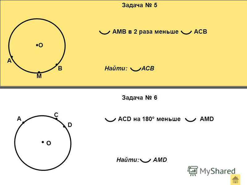 Задача 5 Задача 6 О A M B AMB в 2 раза меньшеACB Найти: AMD О A С D ACD на 180° меньшеAMD Найти: АСВ