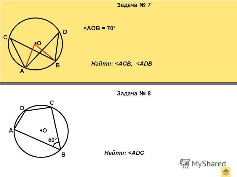 Задача 7 Задача 8 О О A B C D <AOB = 70° Найти: <ACB, <ADB 50° Найти: <ADC A D C B