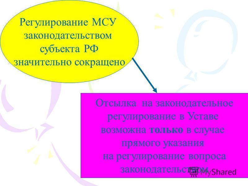Регулирование МСУ законодательством субъекта РФ значительно сокращено Отсылка на законодательное регулирование в Уставе возможна только в случае прямого указания на регулирование вопроса законодательством