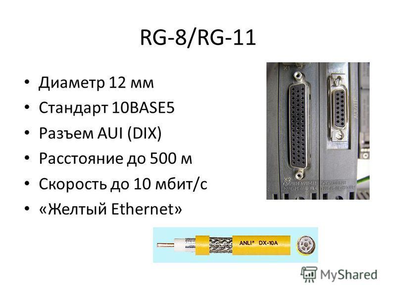 RG-8/RG-11 Диаметр 12 мм Стандарт 10BASE5 Разъем AUI (DIX) Расстояние до 500 м Скорость до 10 мбит/с «Желтый Ethernet»